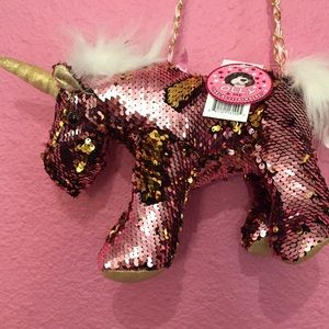 Unicorn purse Sequins that are reversible Pink